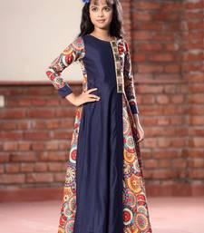 Buy White Button Girl's Navy Blue Long Chennai Silk Digital Print Ready Made Kids Wear Gown Dress kids-frock online