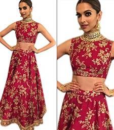 Buy Maroon embroidered art silk unstitched lehenga bollywood-lehenga online