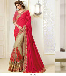 Buy Red embroidered faux satin saree with blouse satin-saree online