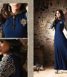 Buy Blue embroidered georgette unstitched salwar with dupatta ethnic-suit online