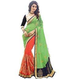 Buy Green embroidered faux georgette saree with blouse wedding-saree online