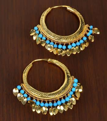 Turquoise BEADED PEEPAL PATTI hoops