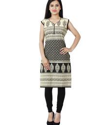 Buy Black printed cotton ethnic-kurtis ethnic-kurti online