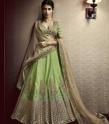 Buy Green embroidered satin unstitched lehenga lehenga-choli online