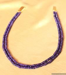 Buy Semi Precious Amethyst Colour Two Line Necklace Set Necklace online