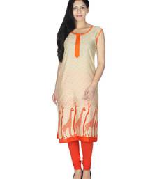 Buy Orange printed rayon kurtis kurtas-and-kurti online