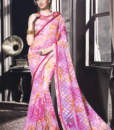 Buy Baby pink printed brasso saree with blouse brasso-saree online