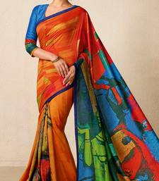 Buy Dark orange printed tussar silk saree with blouse tussar-silk-saree online