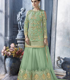 Buy Parrot green embroidered net semi stitched salwar with dupatta sharara online