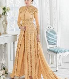 Buy Light gold embroidered georgette semi stitched salwar with dupatta pakistani-salwar-kameez online