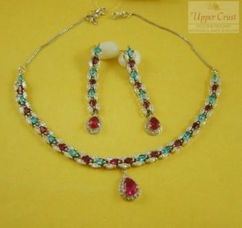 Pink N Blue Zircone Sleek Necklace Earring Jewellery set