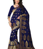 Buy Blue woven poly cotton saree with blouse