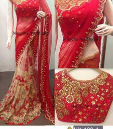 Buy Red embroidered georgette saree with blouse indian-dress online