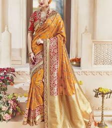 Buy Amber embroidered kanchipuram silk saree with blouse kanchipuram-silk-saree online