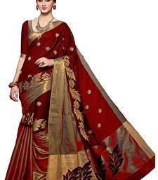 Buy maroon printed cotton saree with blouse black-friday-deal-sale online