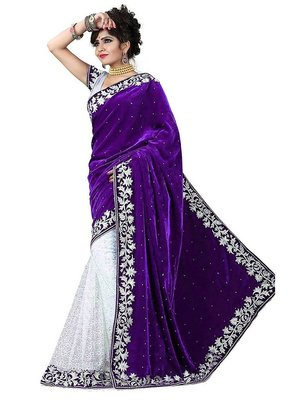 purple embroidered velvet saree with blouse