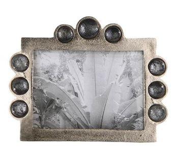 Aluminium silver photoframe with smoked glass beads 5 x 7