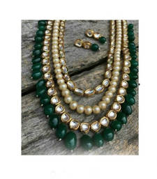 Buy Kundan and Pearl Multistrand Necklace Set With Green Onyx Droplets necklace-set online