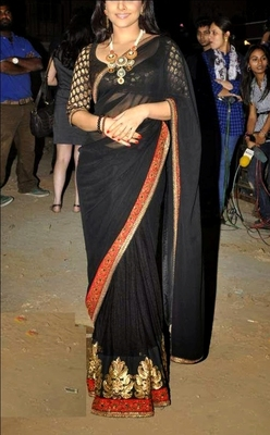 Indian Replica Ethnic Vidya Balan  Black Chiffon saree