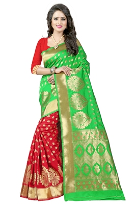 Multicolor hand woven chanderi silk saree with blouse