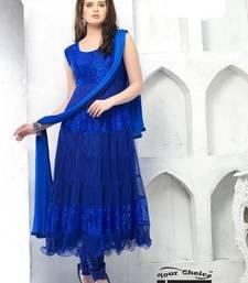 Buy blue plain net semi stitched salwar with dupatta anarkali-salwar-kameez online