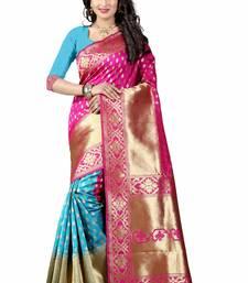Buy Pink hand woven art silk saree with blouse patola-sari online