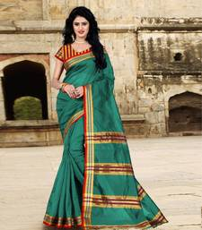 Buy Turquoise cotton linen blend ,tussar silk saree with blouse cotton-silk-saree online