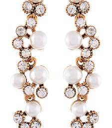 Buy White and copper pearl and cubic zirconia ear cuffs ear-cuff online