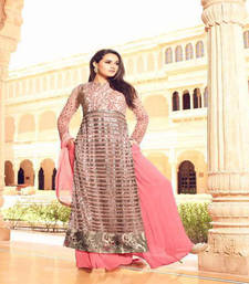 Buy Peach embroidered net salwar with dupatta ethnic-suit online