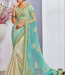 Buy Light blue embroidered net saree with blouse half-saree online