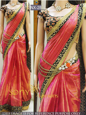 Multicolor embroidered pure silk saree with blouse