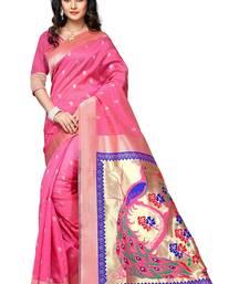 Buy Pink printed cotton saree with blouse jacquard-saree online