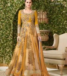 Buy Yellow embroidered banglori silk and net anarkali salwar with dupatta anarkali-salwar-kameez online