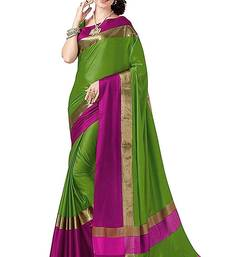Buy Green printed cotton saree with blouse cotton-saree online