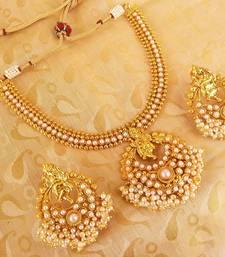 Buy White Kemp Ganesha Temple Jewellery Set necklace-set online