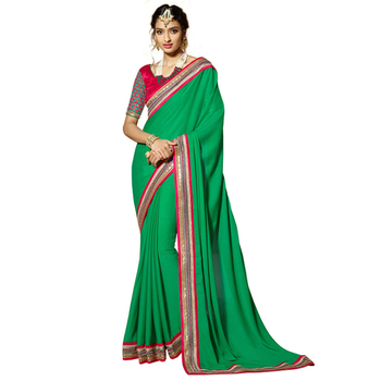 Green Embroidery Crepe and Jacquard saree with blouse