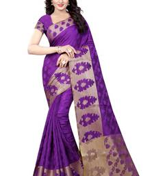 Buy Purple hand woven banarasi silk saree with blouse banarasi-silk-saree online