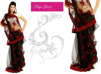 Black  Net Saree with Shimmer Unstitched Peticoat