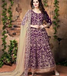 Buy Purple embroidered silk salwar with dupatta wedding-salwar-kameez online