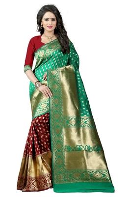 Sky blue printed banarasi silk saree with blouse