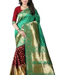 Buy Sky blue printed banarasi silk saree with blouse banarasi-silk-saree online