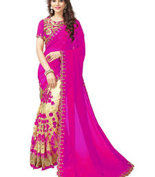 Buy Pink embroidered pure georgette & Net saree with blouse designer-embroidered-saree online
