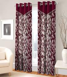 Buy Set Of 2 Window Eyelet Maroon Fancy Printed Curtains curtain online