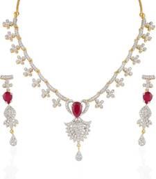 Buy Heena Festive collection Red stone Necklace set >> HJNL31 << necklace-set online