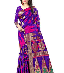 Buy Navy blue woven art silk saree with blouse art-silk-saree online