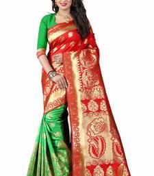 Buy Red woven art silk saree with blouse bengali-saree online