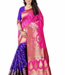 Buy Pink woven art silk saree with blouse art-silk-saree online