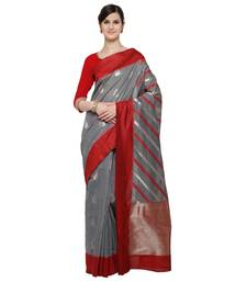 Buy Grey woven blended cotton saree with blouse cotton-saree online