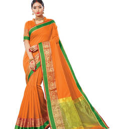 Buy Orange woven chanderi saree with blouse chanderi-saree online
