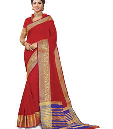 Buy Red woven chanderi saree with blouse chanderi-saree online